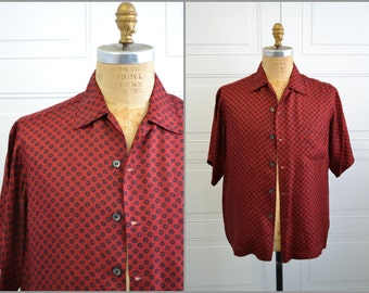 1950s Red and Black Silk Shirt