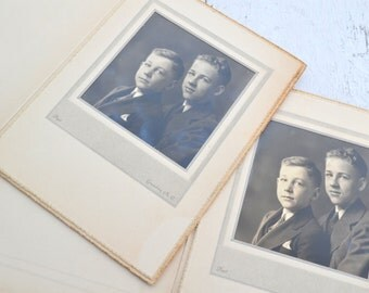 1940s Photo Portrait of Brothers, Lot of 2