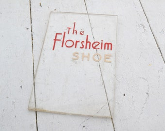 1930s Glass Florsheim Shoes Store Display Sign