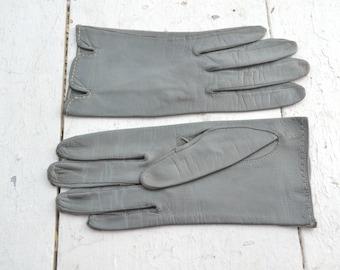 1950s Classique Gray Short Italian Leather Gloves