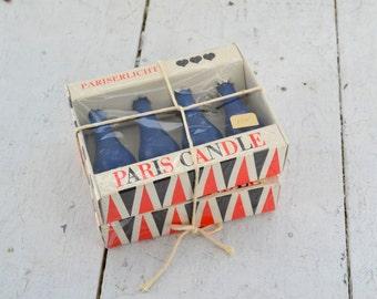 1960s Dark Blue Paris Candles in Original Box, Set of 2 Boxes