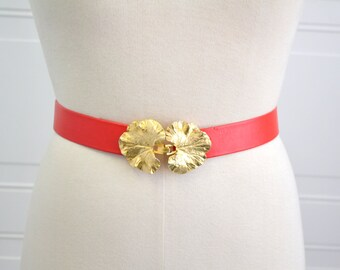 1980s Mimi di N Leaves Buckle and Red Vinyl Belt