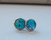 Bright AquaTeal Color-Shift Glass Opal Stainless Steel  Stud Earrings
