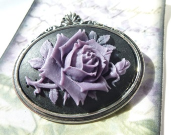Antique Silver Purple on Black Wild Rose Cameo Brooch pin