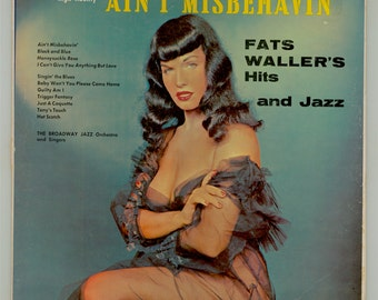 Betty Page LP Ain't Misbehavin Fats Waller's Hits and Jazz Vintage Vinyl Record Album Photo HALO HiFi LP 50252 Bettie Page Risque