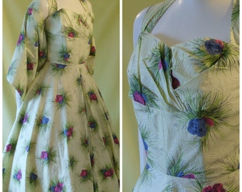 Beautiful 1950s Cocktail Dress / 50s Sun Dress / Matching Stole / Floral Print / Halter Neck / UNWORN / XS Extra Small