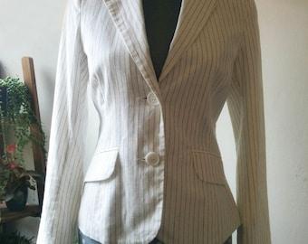Vintage off white pinstripe linen cotton jacket tailored blazer fully lined. Size medium or 38 40 european