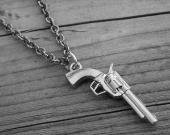 Silver Western Pistol Gun Necklace Silver Gun Jewelry Punk Rock and Roll Rocker Rock n Roll Heavy Metal Southern Country Girl Cowgirl