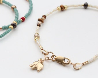 Unique Stacking Bracelet, Gold Lucky Elephant Charm, Vanilla and Chocolate - the Lucky Elephant Original with Signature Gold Elephant Charm