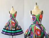 Vintage 60s Dress/ 1960s Cotton Dress/ Jacqueline Lechat Colorful Abstract Print Cotton Dress w/ Full Skirt M