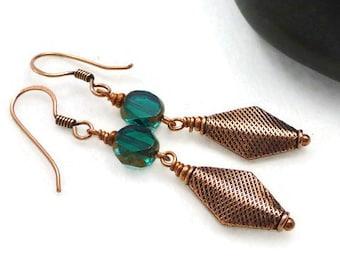 Bohemian Czech Earrings, Bohemian Earrings, Teal , Emerald Green, Copper Earrings, Beaded Earrings