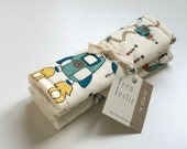 Baby Car Seat Strap Covers - Spacebot -  Reverses to Ivory Minky - Teal, Yellow, Aqua, Cream, Rockets, Space, Robots