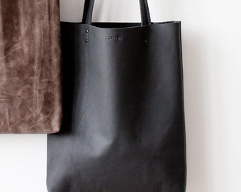 Xmas in July SALE Charcoal Grey Leather Tote bag No.Tl- 6031