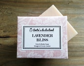 Lavender Bliss Soap - Calming Lavender Oil scented, for Face & Body, Cold Process Soap, 100% Natural