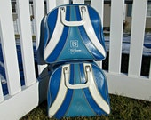 Vintage Bowling Bag - Ombre Blues with White Stripes and Silver Piping Pleather Bowling Bag - Retro Rockabilly - Brunswick WindJammer