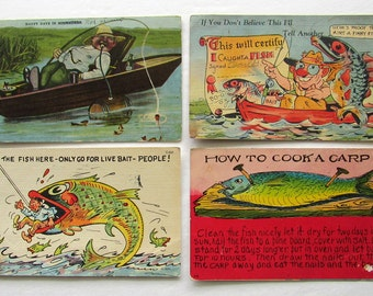Set of 4 Funny Antique Fishing Postcards