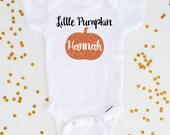 Little Pumpkin Personalized Halloween Bodysuit, Orange Glitter Pumpkin Bodysuit, Girl Halloween Shirt, Baby Girl Bodysuit (SH048)