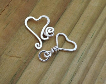 sterling silver hook clasp, heart shape silver clasp, silver findings, bracelet clasp, necklace clasp, anklet clasp, jewelry making supplies