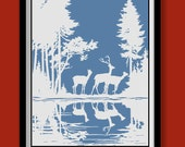 Woodland Deer Silhouette Poster . White and Blue  large A2 (40 x 60 cm)  print