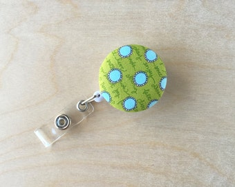 Retractable Badge Reel Holder - Handwritten Blue Dot