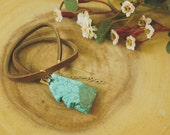 Turquoise Pendant Choker // Brown