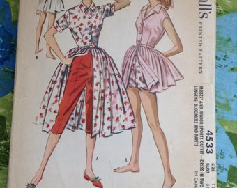 Vintage McCall's 4533 Playsuit, Dress, Bloomer, Pants Summer Wardrobe Sewing Pattern 31 Inch Bust
