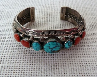 Native American Indian Turquoise, Coral and Sterling Silver Bracelet by Navajo Artist Jeanette Dale