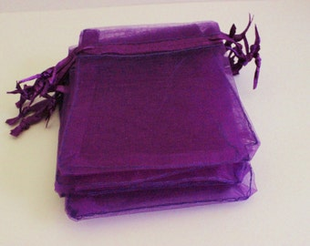 "Purple Organza Bags 2 1/2"" x 3 1/2"" Favors 20+ Weddings / Party Favors / Baby Showers / Craft Show Supplies"
