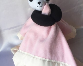 Pink & Owls Panda Plush Blankie - Super Cute Security Blanket w/ Fleece Panda. Your child can have their plush and blankie together in one.