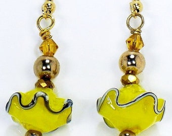 Yellow Dangle Lampwork Earrings