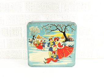 Vintage Christmas Cookie Tin - English Elkes Fox Biscuit Tin - Turquoise w/ Ice Skaters, Winter Scene - Blue, Red, White - Xmas Holiday