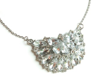 Rhinestone Silver Statement Necklace
