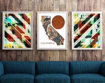 Print set, art set, California map, California, statement picture, gallery picture set, bold wall art, blue, red, white art, Matching art