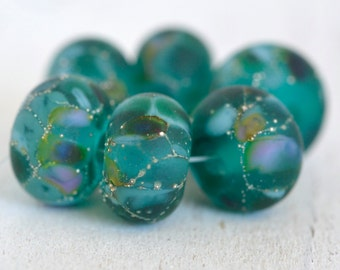 lamp work beads... SRA handmade, matte finish, lampwork beads, teal beads, multicolor beads set of (6) for making jewelry 73016-5