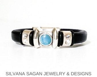 Leather Bracelet, Black Leather Bracelet, Silver Black Leather Bracelet, Silver Black Leather Turquoise Bracelet, Black Leather Turquoise