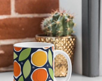 Mug Bold Floral Print Ceramic Cup