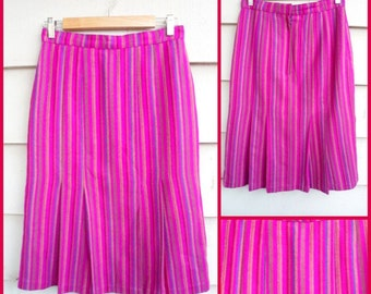 Vintage Striped Skirt - S -Side Pleated Wool  Fuchsia Cranberry Royal Blue Tan Goldenrod Khaki A-Line