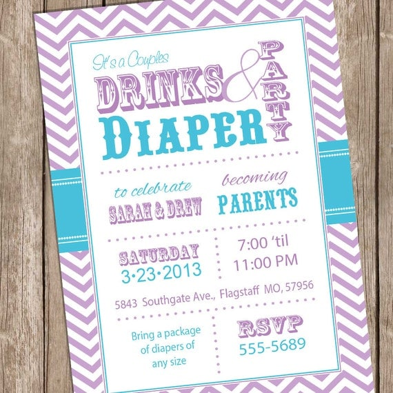 baby shower invitation teal and purple drinks and diaper shower
