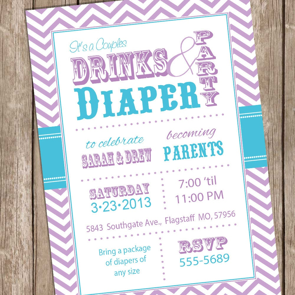 couples baby shower invitation teal and purple drinks and