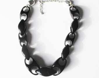Black Chunky Statement  Necklace Vintage Black Plastic Chain Gift for Her Summer Jewelry