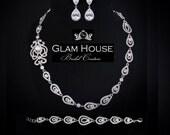 Art Deco Jewelry,bridal necklace, zirconia earrings,statement necklace,vintage wedding jewelry,bridal jewelry set,great gatsby jewelry
