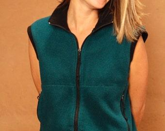 90s GRUNGE fleece TEAL plaid dark soft PATAGONIA style ski fleece