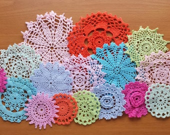 16 Vintage Crochet Doilies, Hand Dyed in Pink, Peach, Light Blue, and Mint Green, 2.5 to 5 inch Doilies, Crochet Mandala Medallion Doilies