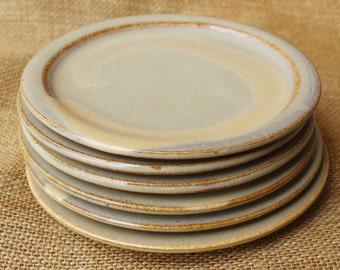 Set of 6 wheel thrown stoneware pottery dessert or tapas small 7 inch plates