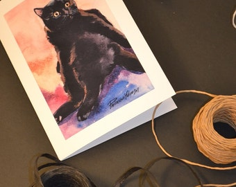 Black Cat Greeting Card 5x7 from my Original Watercolor Painting
