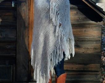 SALE 30% OFF - Beaded Fringe Knit Poncho