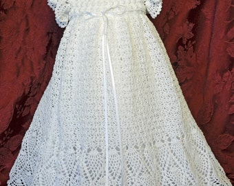 White Christening / Blessing Gown with Slip and Bonnet  - 3 to 6 Months - READY TO SHIP - 13135-G