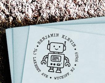 Personalized Custom Return Address Rubber Stamp or Self Inking - Kid Children Child Girl Boy Robot - Home Sweet Home