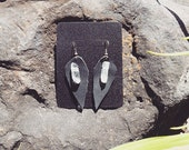 Quartz Crystal Earrings Recycled Black Leather Hand Sewn Boho Stone Earring