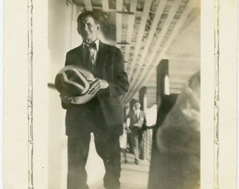 "Vintage Photo ""Mystery Man Gaze"" Guy Holding Hat Walking Snapshot Old Photo Black & White Photograph Found Paper Ephemera Vernacular - 113"